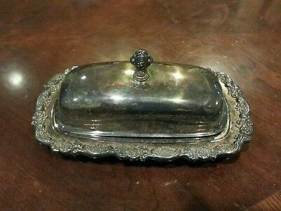 SILVER PLATED butter dish with glass plate rose flower handle needs cleaning
