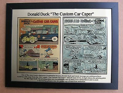 Donald Duck  with Uncle Scrooge Limited Ed Repro 1967 Printing Plate & Page !