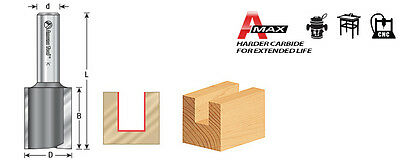 """Amana 45447 Straight Plunge High Production Router Bit 1"""" Dia x 2"""" x 1/2 Shank"""