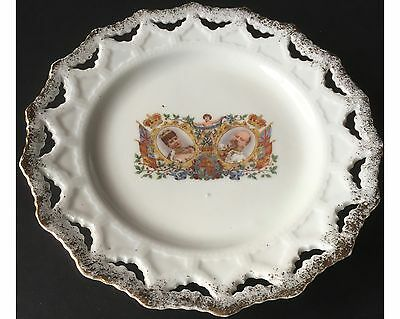 1902 Coronation King Edward VII Queen Alexandra Lace Edged Plate