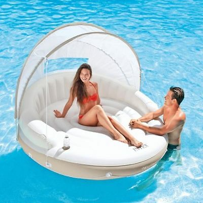 Intex Shaded Pool Lounge Floating Canopy with Sun Shade Inflatable Raft Bed Mat