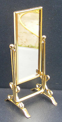 1:12 Scale Brass Oblong Dressing Mirror Dolls House Miniature Bedroom Accessory