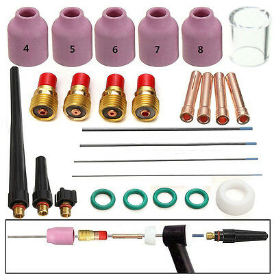 26x Tig Welding Torch Nozzle Cup Tungsten Gas Lens WL20 Set For TIG WP-17/18/26