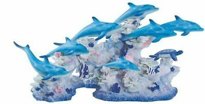 "16"" Dolphins w/ Coral Statue Figure Home Decor Sea Ocean Marine Life"
