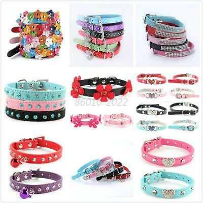 Multi-Styles Adjustable Small Pet Dog Leather Collar Puppy Cat Buckle Neck Strap