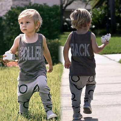 Kids Toddler Baby Boys Outfits T-shirt Tops+Pants Clothes Tracksuit 2PCS Set US