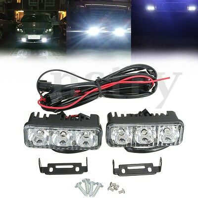 Daylight Running Light Driving Lamp Bright White 3 LED Kit For Truck Car 2Pcs