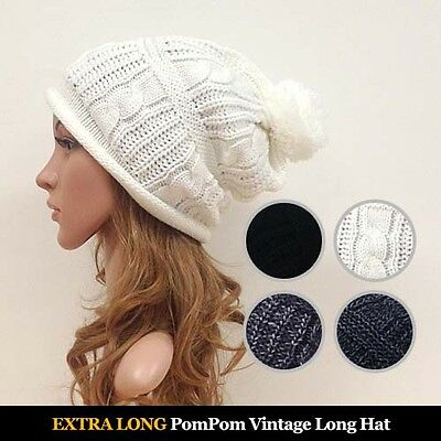 Vintage Style Long Beanie with Pompom Winter Hats Knit Oversized Slouch Unisex