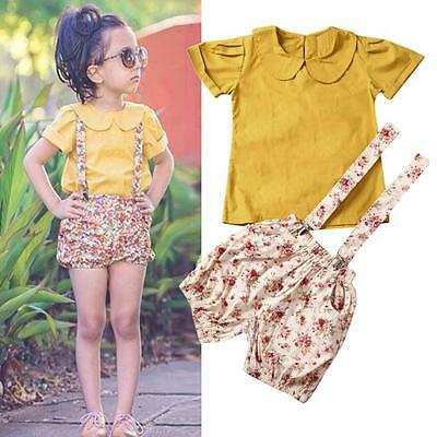 Toddler Baby Kids Girls T-shirt Tops Floral Bib Shorts Pants Outfit Clothes 2PCS
