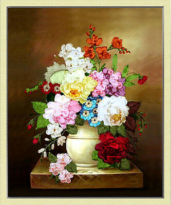 Ribbon Embroidery Kit Floral Flower and Vase Needlework Craft Kit XZ1008