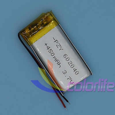 3.7V 450mAh 602040 Liion Li-po Li-Polymer Rechargeable Battery Cell for GPS MP3
