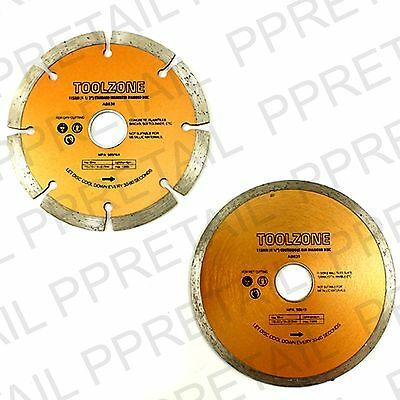 "115MM/4"" SEGMENTED/CONTINUOUS RIM DIAMOND DISC Angle Grinder Blade Cutting NEW"