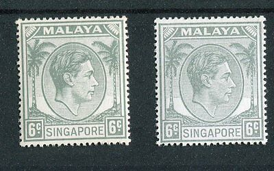 Singapore KGVI 1948-52 6c grey + shade SG21 CW19/a LMM
