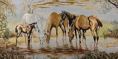 """46"""" Wall Decor Needlepoint Woven Painting Tapestry: Horses Drinking By The River"""