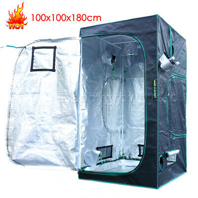 Mars 100x100x180cm Hydroponics Indoor Grow Tent Room Box 1680D 100% Reflective