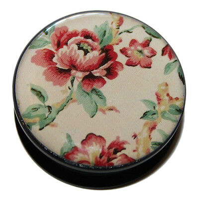 Pastel Red, Green And Beige Floral Flower Print Flesh Ear Plug Tunnel 6mm- 25mm