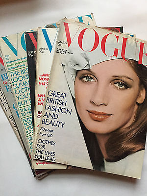 Lot of 6 1970s David Bailey Cover Vogue Magazines - Vintage UK Issues