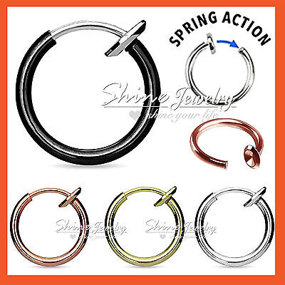 8 - 14mm 16g Fake Piercing Hoop Ring Spring Clip On Lip Nose Septum Ear Earrings