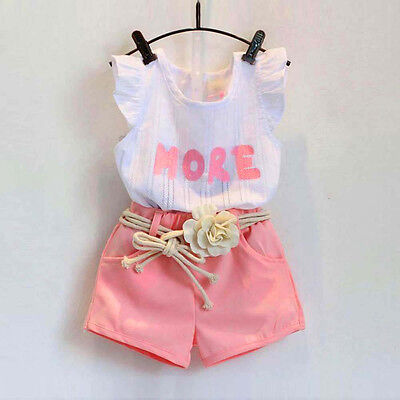 3PCS Kids Toddler Baby Girl Party Outfits Clothes T-Shirt Tops+Shorts Pants+Belt