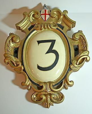 """Vintage large house/building number '3' plaque carved & painted wood 22"""" x 17"""""""