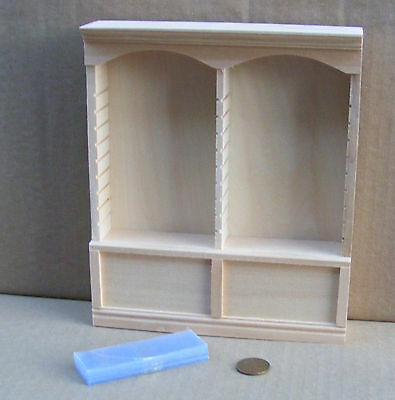 1:12 Scale Natural Finish Deluxe Double Shelf Unit Dolls House Furniture 124