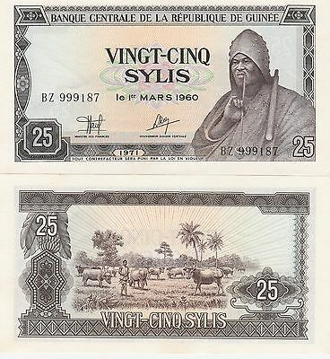 Guinea 25 Sylis Banknote,1971 Uncirculated Condition Cat#17