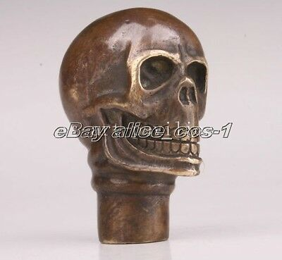 Chinese Old Bronze Hand Carved Skull Statue Cane Walking Stick Head