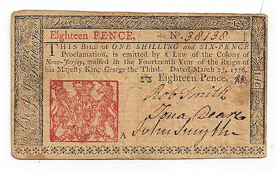 1776 New Jersey Eighteen Pence Colonial Currency Note