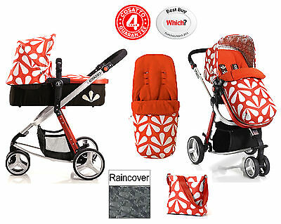Cosatto Giggle 3 In 1 Pushchair Stroller Sunny With Footmuff And Raincover