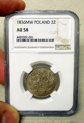 1836 2 Zlote Poland Very Rare NGC Graded AU 58 Coin. Great Coin.