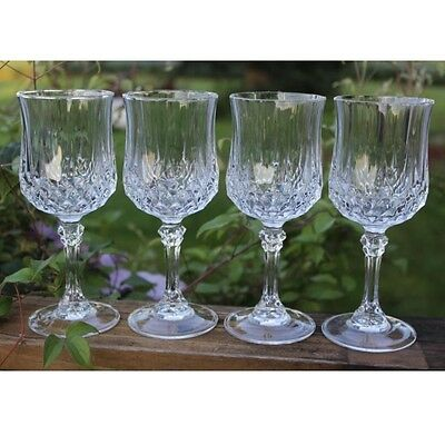6 x Clear Crystal Effect Plastic Wine Glasses Acrylic Party BBQ Wedding Drinks
