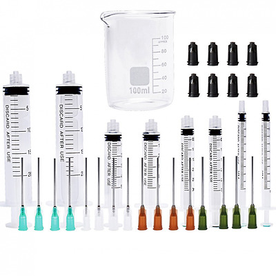 Syringe with Blunt Tip Needles and Caps - 20ml, 5ml, 3ml, 1ml, and 14Gx1.5'' 16G