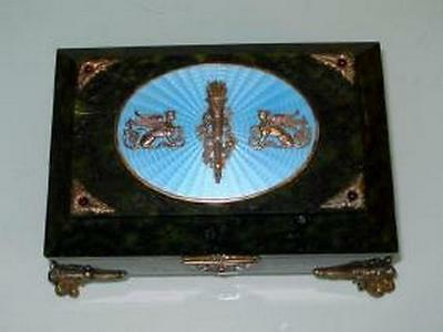 Antique Large Russian Jade Silver Enamel jeweled box.