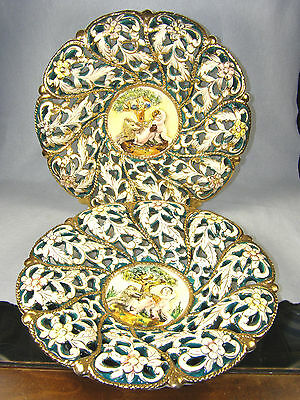 PAIR Ardalt Capotraforo Pottery Reticulated Wall Plates - Hand Painted