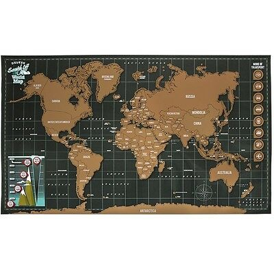 88cm x 52cm Scratch The World Wall Map Poster Travel Vacation Gift Personal Card