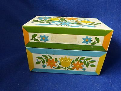 Recipe Metal Flowered Box with recipes inside