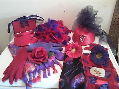 Red Hat Society Lot Hats Scarves Pins Beaded Coin Purse Bracelets Gloves
