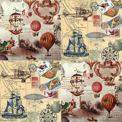 4 Different Single Lunch Paper Napkins for Decoupage Party Vintage World z/33
