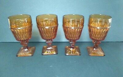 4 Vintage Indiana Glass Company Mt. Vernon Amber Glass Goblet Wine Water