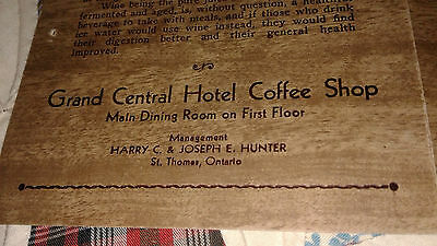 Old musty ALE Grand Central Hotel Coffee Shop DINER beer MENU St Thomas Ontario