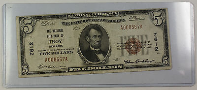 Series 1929 Type 1 $5 National Currency Banknote Troy, New York Charter # 7612