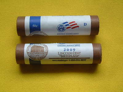 One 2009-D Lp1 Lincoln Cent Log Cabin / Birthplace U.s.mint Wrapped Roll