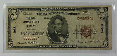 Series 1929 Type 1 $5 National Currency Banknote Troy, New York Charter # 963