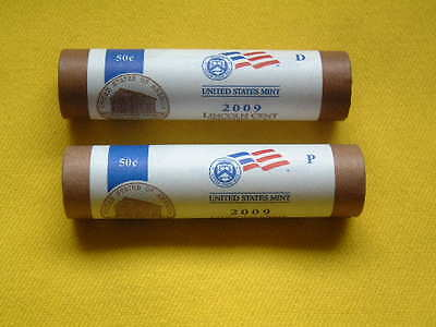 2009-P&d  Lp1 Lincoln Cent Log Cabin / Birthplace U.s.mint Wrapped Roll Set
