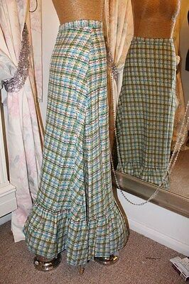 Green checked maxi skirt - Ditsy Vintage 4 XS - 1970s hippie festival boho
