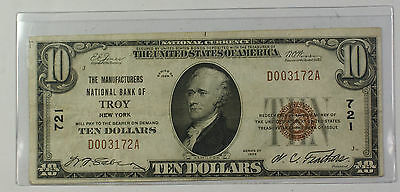 Series 1929 Type 1 $10 National Currency Banknote Troy, New York Charter 721 (B)