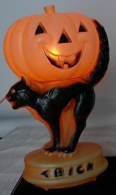 Vintage Halloween Lights 1950's Black Cat Tric Or Treat Pumpkin Light