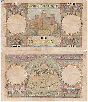 Morocco 100 Francs Banknote 18-6-1946 Choice Fine Condition Cat#20