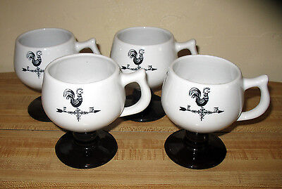 4 Vtg Caribe Puerto Rico Weathervane Rooster Pedestal Footed Mugs Blk & White
