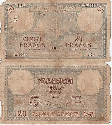 Morocco-20 Francs Banknote,2-12-1931 Good Conditions Cat#18-A-1093